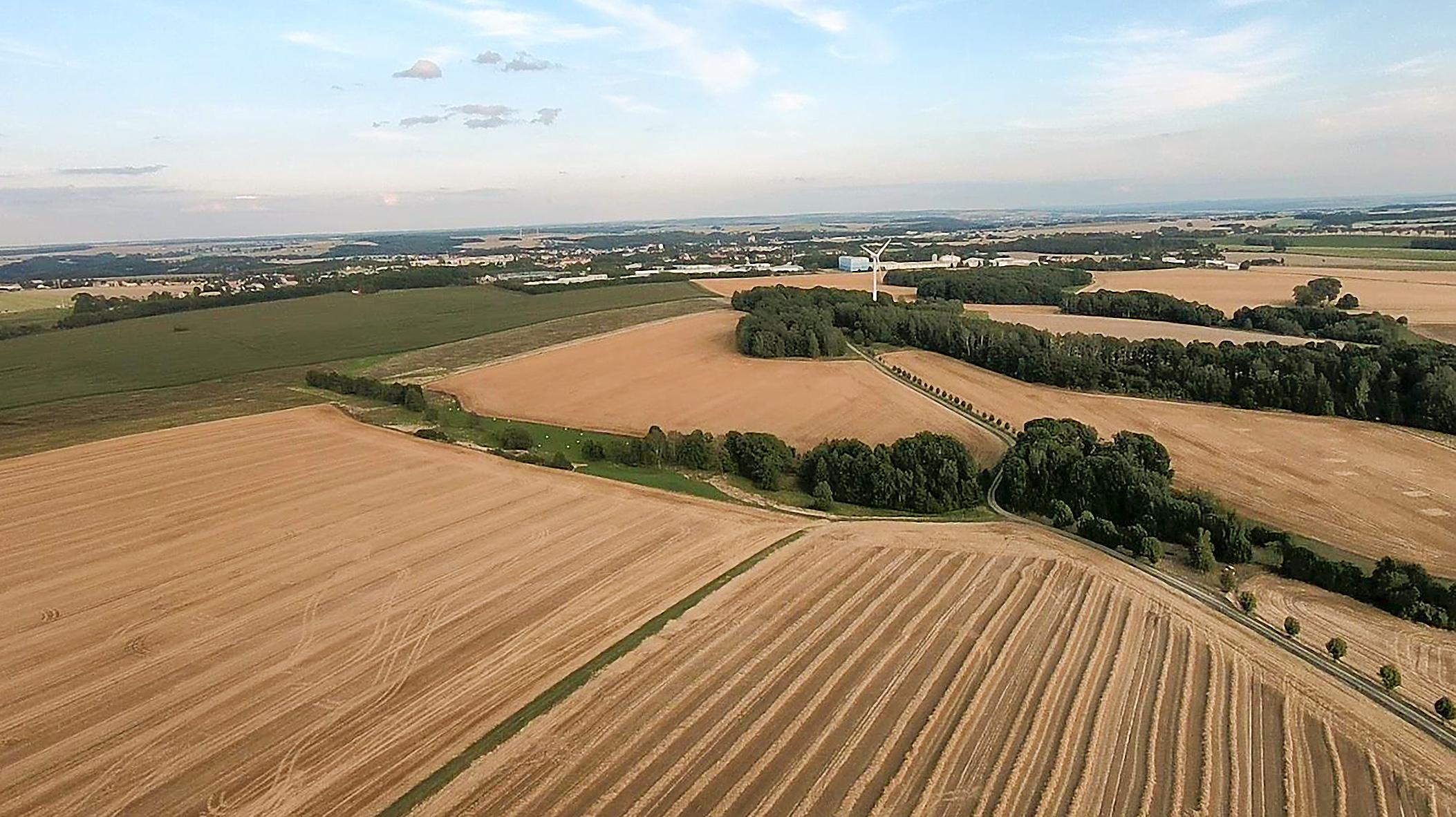 Blick auf den Hahneberg, am Horizont Mittweida (2020, Luftbild Th. Wittke)